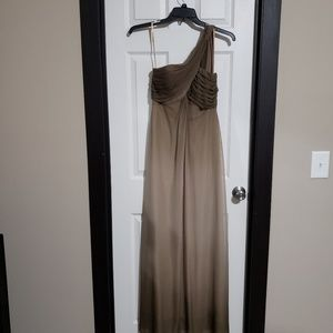 Alex Evenings brown/tan ombre one shoulder dress